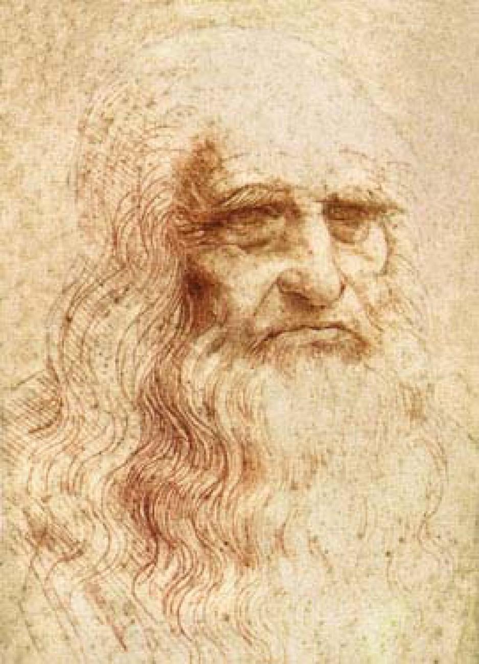 Autoportrait de Léonard, dessin à la sanguine sur papier, 1515-1519, 33,3x21,4cm, Bibliothèque royale de Turin, Turin, Italie.
