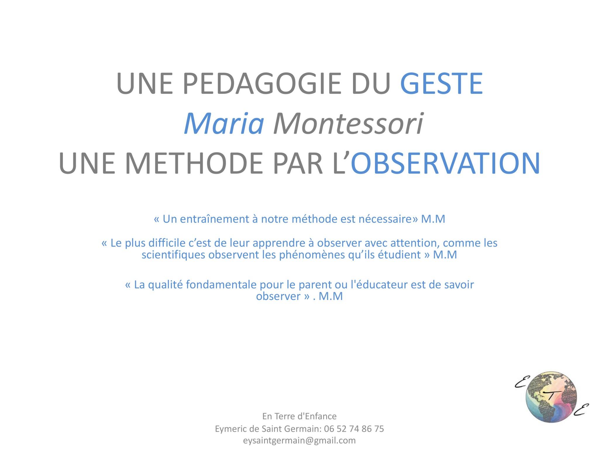 Module Entrée dans la Pédagogie Montessori 2018-1